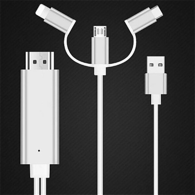 3 in 1 MHLケーブル for iPhone HDMI 互換 Samsung スマホ to Projector / TV 2M MHL To HDMI 互換 1080P HD TV ケーブル...