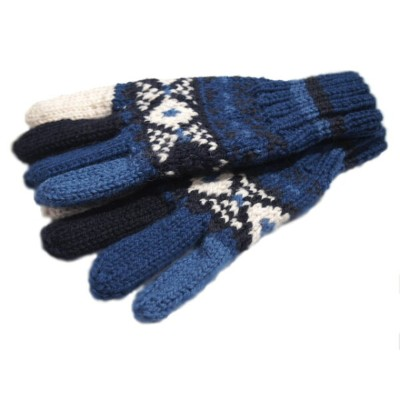 INVERALLAN(インバーアラン)/25A FAIRISLE HAND KNIT 5-FINGER GLOVE (ハンドニットグローブ)/blue x navy mix