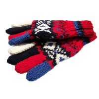 INVERALLAN(インバーアラン)/25A FAIRISLE HAND KNIT 5-FINGER GLOVE (ハンドニットグローブ)/red x navy mix