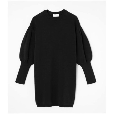 AZUL by moussy VOLUME SLEEVE KNIT ONEPIECE アズールバイマウジー ワンピース 5ー9分袖ワンピース ブラック グリーン カーキ【送料無料】
