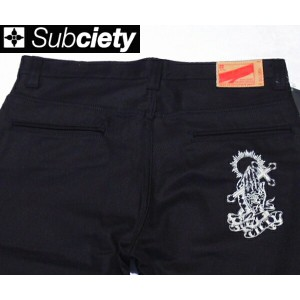 SubcietyサブサエティWORK PANTS -CLASSIC- EMBROIDERY(PRAYING HANDS)BLACK
