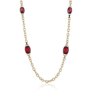 "アンクライン ネックレス ペンダント アクセサリー Anne Klein ""Estate"" Gold-Tone, Ruby Red and Pave Stations Strand Necklace"