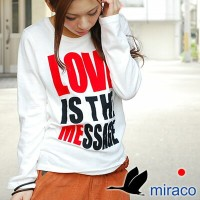 miraco (ミラコ) LOVE IS THE MESSAGEロングTシャツ【返品交換不可】【お一人様1点限り】
