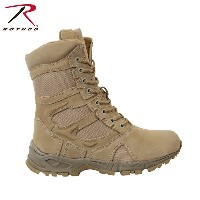 "ROTHCO FORCED ENTRY DESERT TAN 8"" DEPLOYMENT BOOTS WITH SIDE ZIPPER ロスコ サイドジッパー付きブーツ (5357 WIDE)"