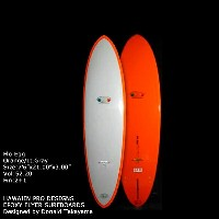 "サーフボード ドナルド・タカヤマ HAWAIIAN PRO DESIGNS Flo Egg 7'6"" Orange Lt. Gray (AHE0175)ファンボード Designed by..."