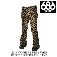 2014 686 シックスエイトシックス パンツ WOMEN'S RESERVED SECRET SOFTSHELL PANT KHAKI LEOPARD PRINT