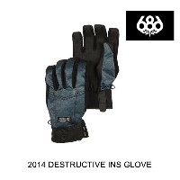 2014 686 シックスエイトシックス グローブ DESTRUCTED INSULATED GLOVE INDIGO DENIM THRASH