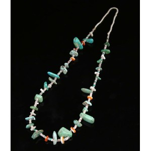 Native American Jewelry(ネイティブ アメリカン ジュエリー) / JNAVAJO TURQUOISE SPINEY OYSTER NECKLACE (ターコイズ ネックレス...