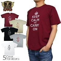 SWAT ORIGINAL(スワットオリジナル) メンズ Tシャツ 半袖 【ミリタリー】 「KEEP CALM and CARRY ON」プリントTシャツ 6.2oz