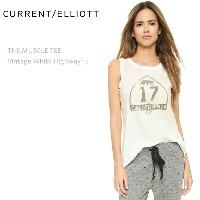 【SALE】CURRENT ELLIOTT(カレントエリオット)THE MUSCLE TEE Vintage White Highway 17Tシャツ/タンク/グラフィックプリント