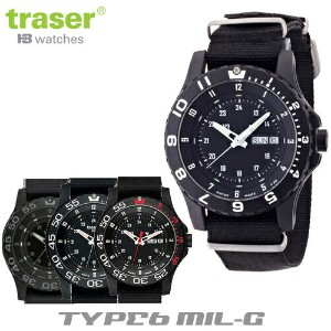 【Traser Watches】トレーサー trigalight 軍事用時計「TYPE6 MIL-G」(Black,Shade,Red,White,SportsRED)