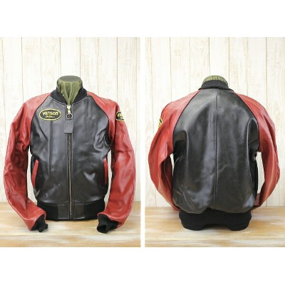 vanson バンソン LOGO TEAM JACKET SPECIAL ORDER COLOR レザージャケット VANSON TJV BLACK×RED