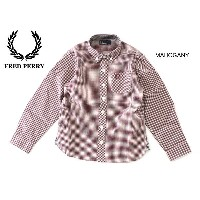 FRED PERRY CLASSIC GINGHAM SHIRT■SY6377-MG【 キッズ トップス シャツ ボタンダウン チェック 長袖 衿付き フレッドペリー】■4012904【5A1】...