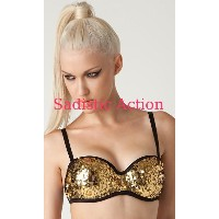 【即納】L.A.Roxx Burlesque Sequin push-up bra in GOLD 【L.A.Roxx (ダンスウェア、レザー、ボンテージ、衣装)】【LA-BRA-51001-GL】