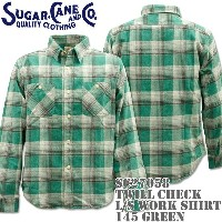 Sugar Cane(シュガーケーン)TWILL CHECK L/S WORK SHIRT SC27058-145 Green