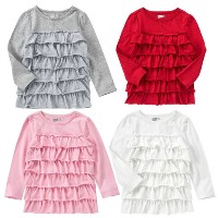 crazy 8 クレイジーエイト 長袖 Tシャツ キッズ 子供服女の子 12-18 18-24 2歳 3歳 4歳 5歳 綿 フリル ピンク グレー 赤 白 80 85 90 95 100 110