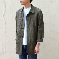 Sanca(サンカ)/LINEN H/TOOTH SHORT COAT -BROWN-
