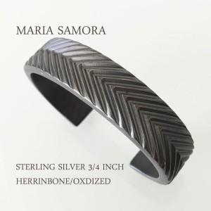 マリア サモラ ヘリンボーン シルバー バングルMARIA SAMORA STERLING SILVER 3/4 INCH HERRINBONE BANGLE/OXDIZED