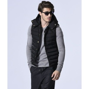 【wjk】2848 ny31e-no collar down vest with hood ベスト