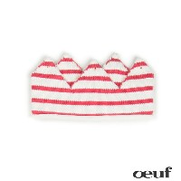 【Sale 20%】oeuf(ウフ)ニット クラウンOEUF-CROWN-WHITE/CORALリボン ベビー キッズ 出産祝い プレゼント