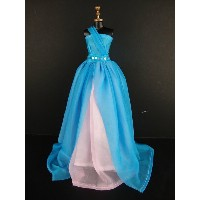 バービー 着せ替え用ドレス/服 Blue3 (An Amazing One Shouldered Gown in Blue and Pink Made to Fit the Barbie Doll)