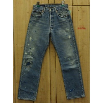 LEVIS リーバイス501 ペイント加工 古着 90S MADE IN USA ダメージジーンズ 中古W29×L28 【中古】