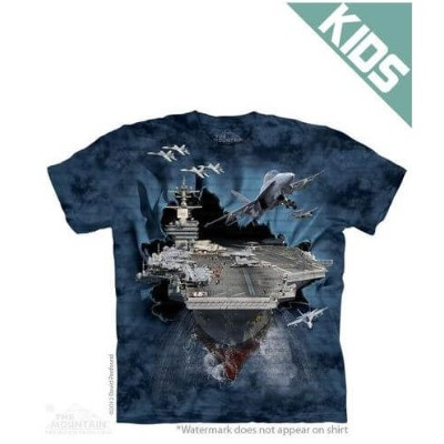 The Mountain Tシャツ Aircraft Carrier ( 軍隊 航空機 キッズ 子供用)【輸入品】半袖