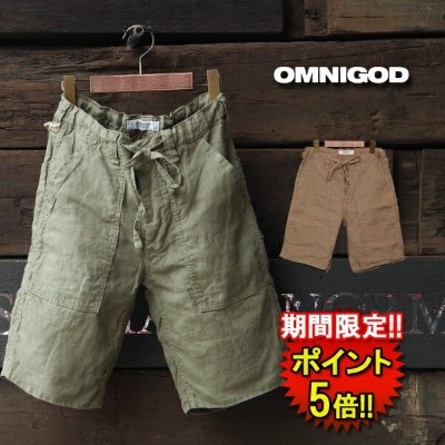 【50%OFF☆限定19日まで】【OMNIGOD】 LINEN WORK EASY SHORTS (55-046) Men's 2color □ ※返品不可※