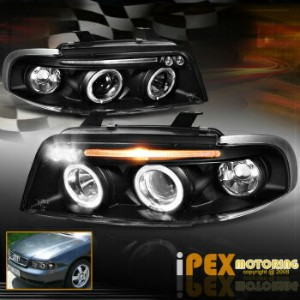 アウディ ヘッドライト 1996-1999 Audi A4/S4 B5 Halo Projector LED Black Headlights Corner Signal Lights 1996...
