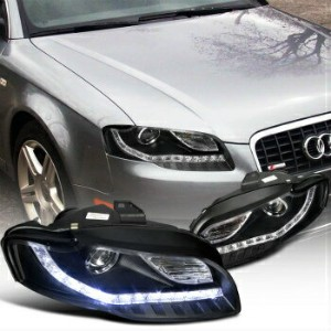 アウディ ヘッドライト For 2006-2008 Audi A4 Projector Headlights+Led DRL Lamps Black SpecD Tuning 2006...