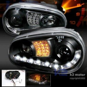 フォルクスワーゲン ヘッドライト Fit 99-02 VW Cabrio / 99-06 Golf MK4 LED DRL Signal Projector Headlights Black...