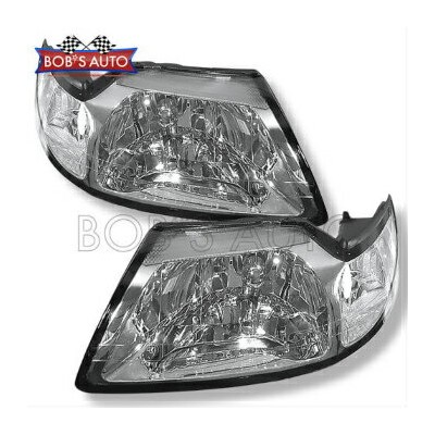 フォード マスタング ヘッドライト 99-04 Ford Mustang Euro Chrome Factory Style Headlights Headlamps Assembly L+R...