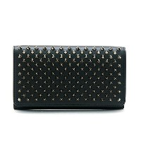 クリスチャン ルブタン CHRISTIAN LOUBOUTIN 1165076 MACARON WALLET CALF P/SPIKES B078 BLACK/GUN METAL ラウンドファスナー