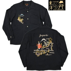 "TAILOR TOYO/テーラートーヨー MID1950s STYLE EMBROIDERED SOUVENIR SHIRT""JAPAN MAP""長袖スカシャツBLACK(ブラック)/TT27402"