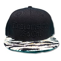 """KUSTOMSTYLE KSCP0905SB """"OLD ENGLISH BLACK OUT"""" SNAP BACK CAP BLACK-TIGER CAMO"""