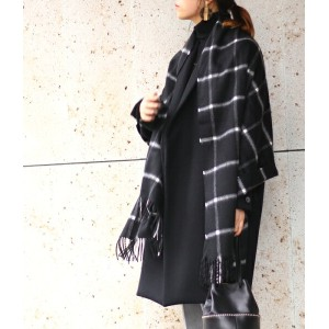 【期間限定!全品ポイント10倍】Johnstons [ジョンストンズ] / CASHMERE TARTAN STOLES(190×70)-Black with White Windowpane-...