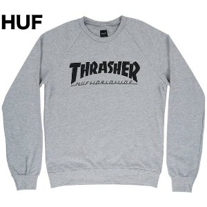 HUF X Thrasher Mag Crewneck Sweatshirt Heather Grey S