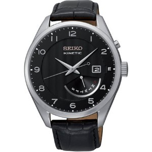 セイコー Seiko Kinetic Black Dial Black Leather Mens Watch SRN051P1 男性 メンズ 腕時計 【並行輸入品】