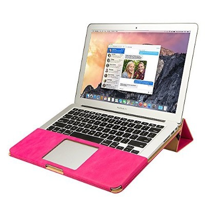 Jisoncase 【MacBook Air 13.3インチ対応PUレザースタンドケース】 PU leather stand case ローズレッド JS-AIR-06R33