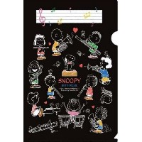 SNOOPY WITH MUSIC BAND COLLECTION スヌーピー メモリング ファイル (ブラック)