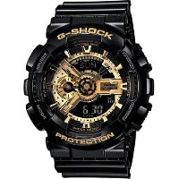 カシオ Men Casio GA110GB-1A G-Shock Black G-Shock Digital Anti-Magnetic Gold Tone Analo Men Casio...