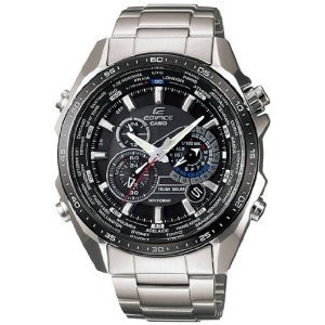 Casio Men's Edifice EQS500DB-1A1 Silver Stainless-Steel Quartz Watch with Black Dial【並行輸入】