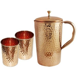 AVS STORE テつョ Indian Pure Hammered Copper Jug with 2 Tumbler Glass Set for Ayurvedic Healing by AVS...