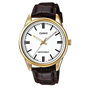 カシオ Casio MTP-V005GL-7A Men's メンズ 男性用 Gold Tone Brown Leather Watch [並行輸入品]