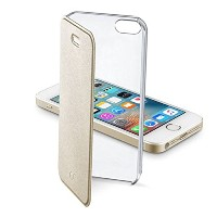 Cellularline iPhone SE ケース 手帳型 ゴールド CLEAR BOOK for iPhone SE/5s/5