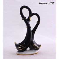 Feng Shui Two Black Swans (Fine Symbol of Love)-Hand Crafted and Decorated Fine Porcelain, Figurine...
