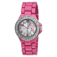 Disney[ディズニー] MODEL NO.tk2028 Tinkerbell Silver Dial Fuschia Enamel Bracelet Watch ティンカーベル レディース...
