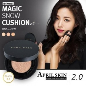 [April Skin]韓国クッション部門1位!NEW!!★Magic Snow Cushion Black 2.0★/w Gift Sample (#22 Pink Beige) [並行輸入品]