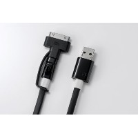 Deff 【データ転送対応】 LEDライト付き 2.1A急速充電ケーブル Super Tangle-free flat design cable (30PIN Dock&MicroUSB)150cm...