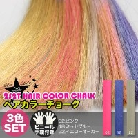 [2S2T HAIR COLOR CHALK] ヘアチョーク 3色セット(#02,#18,#22)